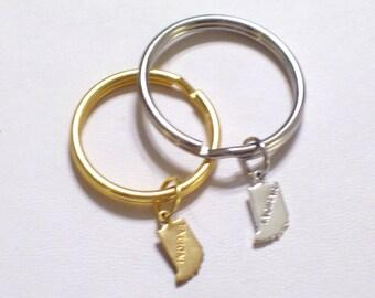 INDIANA Keychain, Brass State Charm Keychain, Gold Plated Key Ring, Silver Indiana Keyring, Split Ring Key Holder, Indiana State Charm