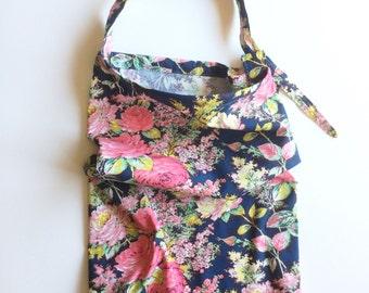 Navy Floral - Baby Girl Cotton Nursing Cover  - adjustable strap