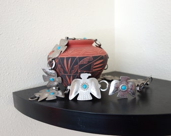 Older Vintage WESTERN Thunderbird and Turquoise Silver Concho Souvenir Belt Small to L Southwestern Indian up to 36 inches
