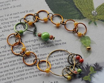 Knitting row counter & stitch marker rings Autumn