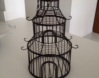 Vintage Wire Bird Cage Oriental style with hanging chain, Oriental Decor Home Decor