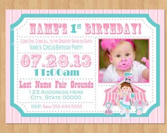 Girl Circus Invitation Circus Ticket invitation Girl Carnival Invitation Girl Carnival Ticket Invite Girl invitation Girl 1st birthday