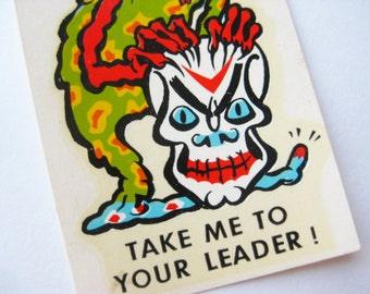Vintage 60s Skeleton Alien Ed Roth Weirdo Monster Window Water Decal Transfer