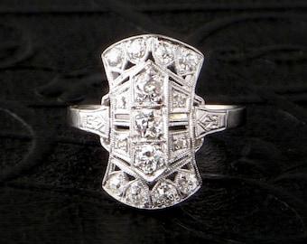 Art Deco Platinum Diamond Ring. Filigree. Rare Size 7. Unworn.
