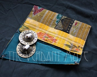 Assuit Zil Bag- Teal, Red and Gold Ikat Cotton and Assiut Bellydance Finger Cymbals Pouch