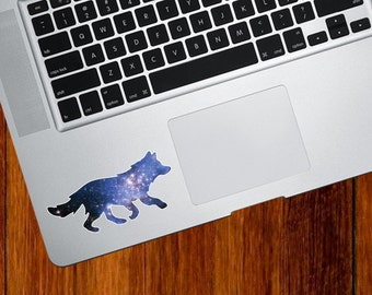 """CLR:TP - Cosmic Wolf - Galaxy Guide - Vinyl Decal for Trackpad   Tablets   Indoor Use - © 2016 YYDCo. (3.5""""w x 1.75""""h)"""