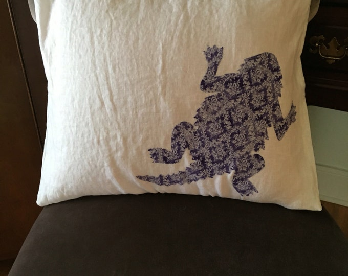 100% Washed White French Linen TCU Horned Frog Pillow Pillow Cover Applique