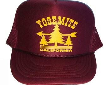 Maroon  Yosemite  Snapback Mesh Trucker Hat Cap California