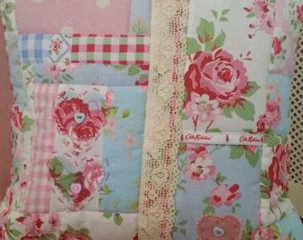 "Handmade Cath Kidston Cushion Cover 15"" Shabby Chic Roses Rosali Provence and Polka Dot Pink Blue White"