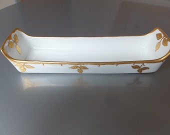 Vintage UNO Favorite Bavaria Cracker Dish Gold Leaf Porcelain