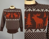 70s Reindeer Ski Sweater Hand Knit Montana Wool Shop Holiday Sweater