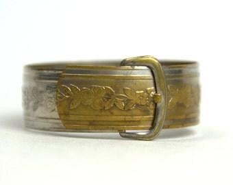 Victorian Buckle Bracelet 1940s Revival Floral Engraved Belt Buckle Bangle Cuff