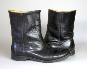 60s FRYE Black Leather Pull On Engineer Motorcycle Work Boot, mens 8.5