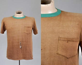 60s Distressed Single Pocket T Shirt Brown / Green Collar Cotton Two Tone T Shirt
