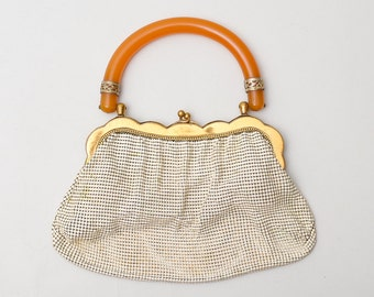 1940s Whiting and Davis Bakelite Handbag Alumesh Deco Handbag Purse