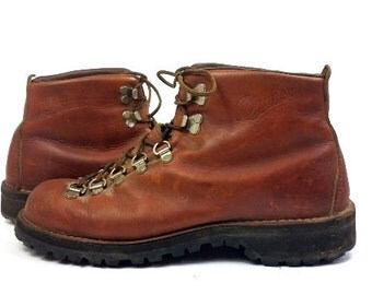 70s Danner Hiking Boots Leather Lace Up Mountaineer Outdoor Work Boots Mens 7.5 D