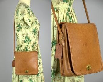 Vintage Coach Crossbody Classic Caramel Brown Leather Handbag Purse