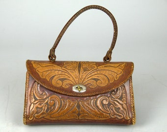 1950s Western Tooled Leather Southwest Floral Purse