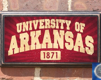 Arkansas Razorbacks Founding Date Wall Art Sign Plaque, Gift Present, Home Decor, Vintage Style, Antiqued never yield, little rock, hog call