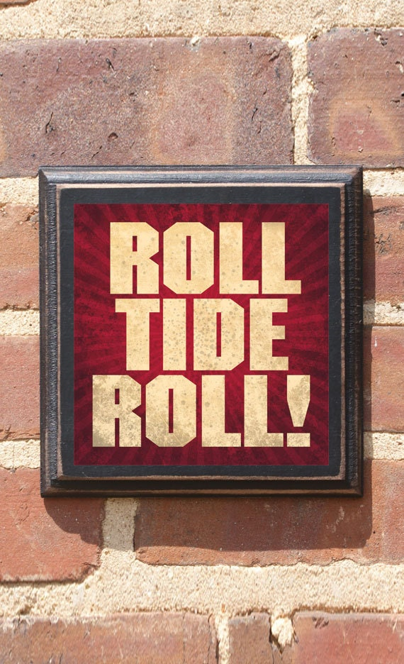 Alabama crimson tide roll tide roll wall art sign plaque gift for Alabama football wall mural