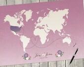 "Ombre Wedding Decor, Guest Book Alternative, Wedding Guest Book, Ombre Wedding, Pink Purple Wedding, Custom Wedding Map, Sizes up to 42""x70"""