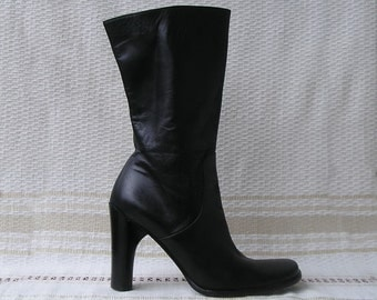 Vintage Italian square toe high heels black leather boots, size 38 (EUR), 7.5 (US)