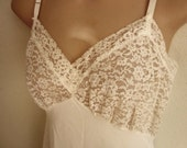 """Vintage full slip white nylon all lace bodice and 7"""" lace hem sexy lingerie 36"""