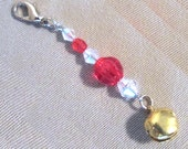 Red & White Beaded Jingle Bell Add a Charm in Silver Or Gold Tone, Handmade Original Fashion Accessory, Gift Charm, Purse Charm Zipper Pull