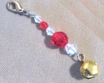 Red, White, Green Beaded Jingle Bell Add a Charm in Silver/Gold Tone, Handmade Original Holiday Accessory Purse Charm Zipper Pull Small Gift