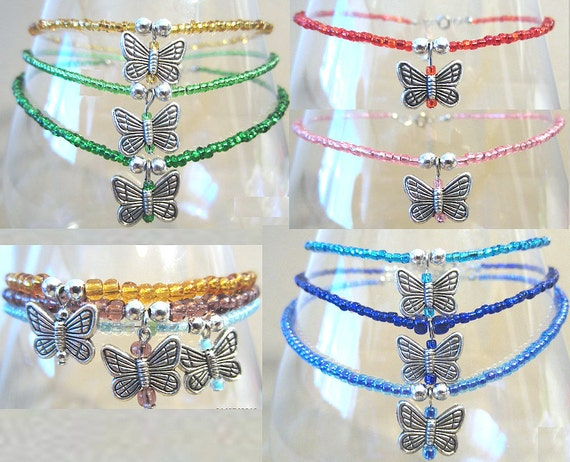Glass Beaded Anklet w/ Detailed Butterfly Charm, Handmade Original Fashion Jewelry, Bright Colors Nature  Summer Whimsical Fun Ladies Gift