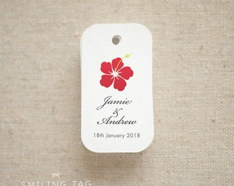 Hawaiian Theme Wedding Favor Tags - Personalised Gift Tags - Thank you tags - Bridal Shower - Party Favor Tags - Set of 40 (Item code: J312)