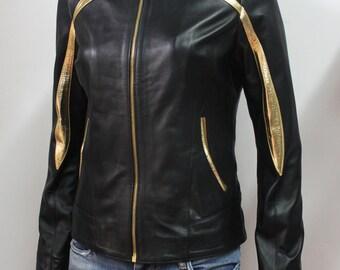 Italian handmade Women soft genuine lambskin leather jacket slim fit color Black and gold