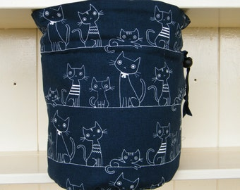 Cat Project Bag. Small Drawstring bag ideal for knitting or crochet projects