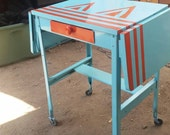 Upcycled Vintage Metal Typewriter Rolling Table or Cart with Fold Down Sides