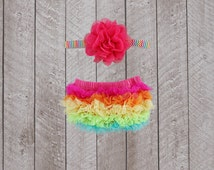 Baby Girl Ruffle Bottom Bloomer & Headband Set in Hot Pink and Neon Rainbow - Newborn Photo Set - Infant Bloomers - Diaper Cover - Baby Gift