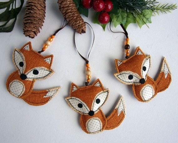 Fox Ornament Fabric Fox Woodland Decoration Fox Ornaments