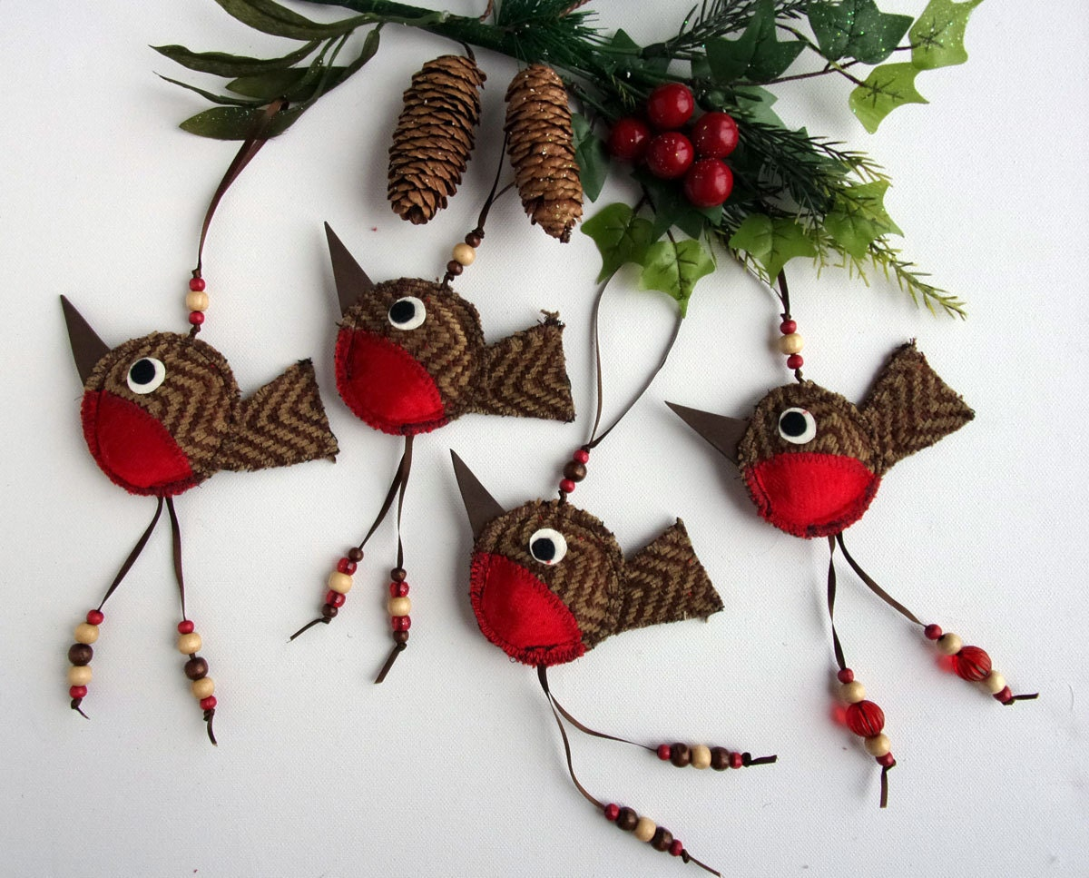 Robin christmas decoration national bird of britain shabby for Christmas decoration things