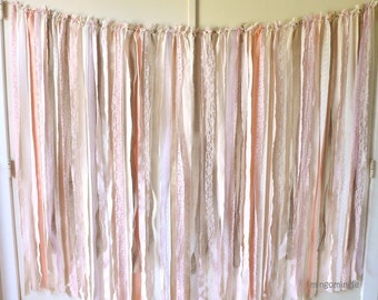 Fabric Backdrop Rag Streamer Garland with Burlap and Lace