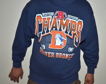 Vintage 1996  Denver Broncos Western A division NFL Champions Football Sweat Shirt Navy blue size M Made in USA ProPlayer