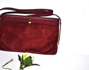 Vintage  Susan Gail Suede Handbag, Burgundy Leather Clutch Purse oxblood shoulder handbag evening purse Fall Fashion. Mad Men style.
