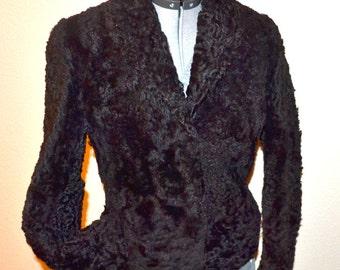 Sale Vintage natural fur Becca-Beel  Monarch Trading Company New Zealand black lamb curly fur coat jacket mid century