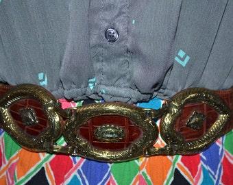 Vintage Authentic Brighton embossed  leather belt Brown  size S  gold tone metal decorations Designer tie hippie high fashion tie