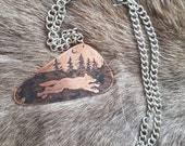 Wild Animal copper etched necklace