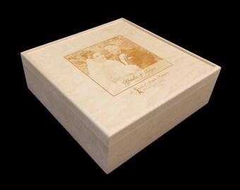 Unfinished Personalized Wooden Wedding Box with lift off lid, Wedding Gift, Wedding Favour,Guestbook Alternative,Wedding Album,Keepsake Box,