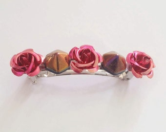 Fuchsia Pink Metal Flower Hexagon Pyramid French Barrette, for weddings, bridesmaids, parties, special occasions