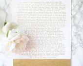"""Your letter hand-drawn in gold and glitter on 11"""" x 14"""" white art board"""