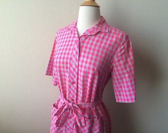 Vintage Gingham Pink and Grey Dress