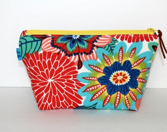 "Cosmetic Bag, Pencil Case, Travel Bag, Christmas Gift, Holiday Gift, Zipper Top, Water Resistant Lining, 9""x5""x3"", Ready To Ship"