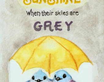 "Bird Art Print - Yellow Umbrella - Watercolor Birds - Friendship Quote - Sunshine - Cute Birds - Serving Others - 8""x10"" Art Print - Blue"