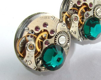 Steampunk  Stud  Earrings small watch movements Emerald Swarovski crystals Steampunk Jewelry  Birthday gift Unique Gifts for Geeks